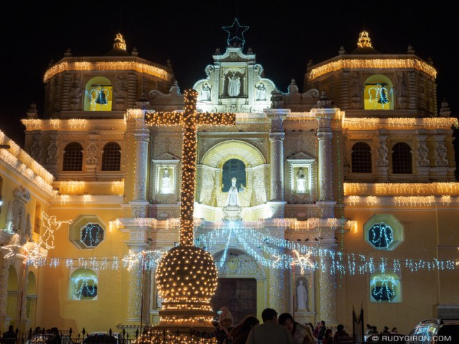 Rudy Giron: Antigua Guatemala &emdash; Christmas lights at Iglesia de La Merced