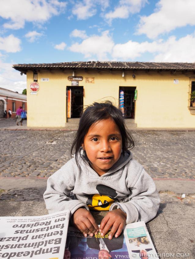 Rudy Giron: Antigua Guatemala &emdash; Newspaper vendor at La Merced