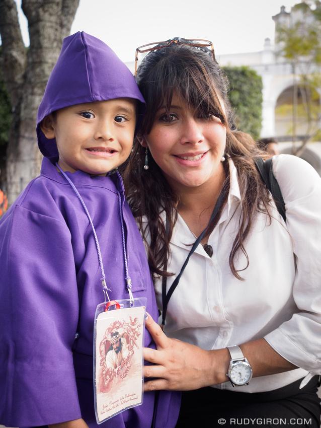 Rudy Giron: Antigua Guatemala &emdash; Little cucurucho boy and mother in Antigua Guatemala