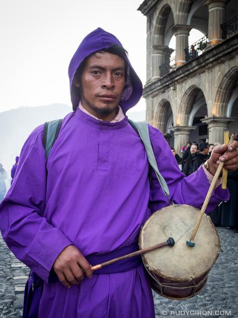 Rudy Giron: Antigua Guatemala &emdash; Cucurucho Drummer and Flute Player