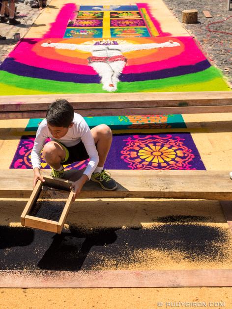 Rudy Giron: Antigua Guatemala &emdash; Boy making a processional carpet in Antigua Guatemala