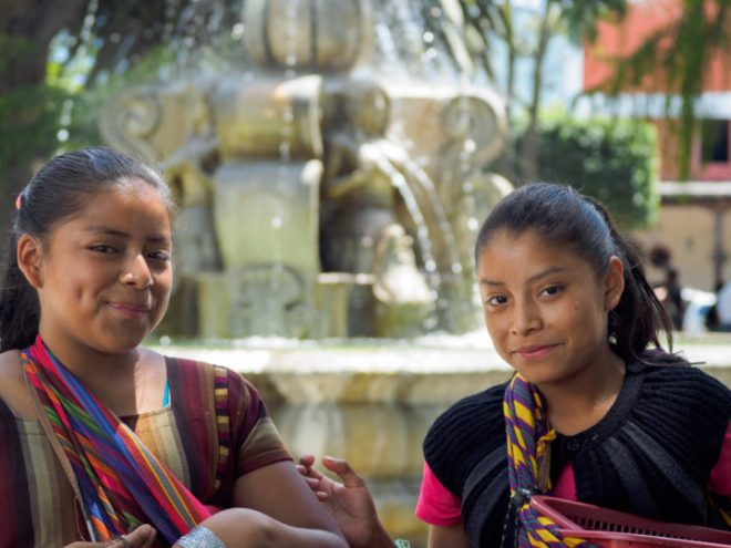 Portrait of Mayan girls at Parque Central by Rudy Giron