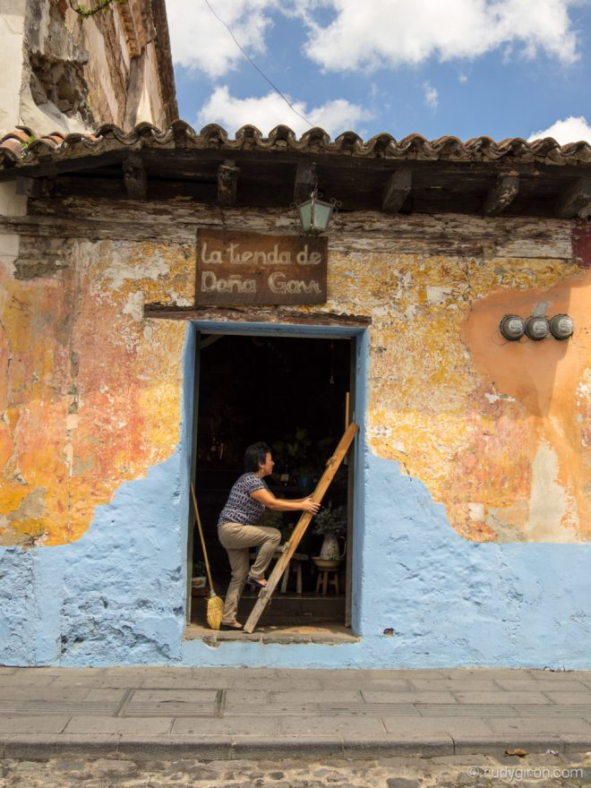 Wall textures and hand-made signs of Antigua Guatemala by Rudy Giron