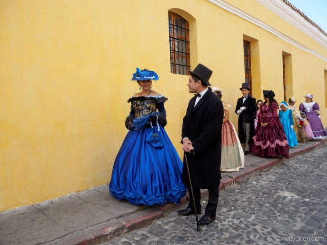 Dressed up in Colonial style attires for a stroll though Antigua Guatemala BY RUDY GIRON