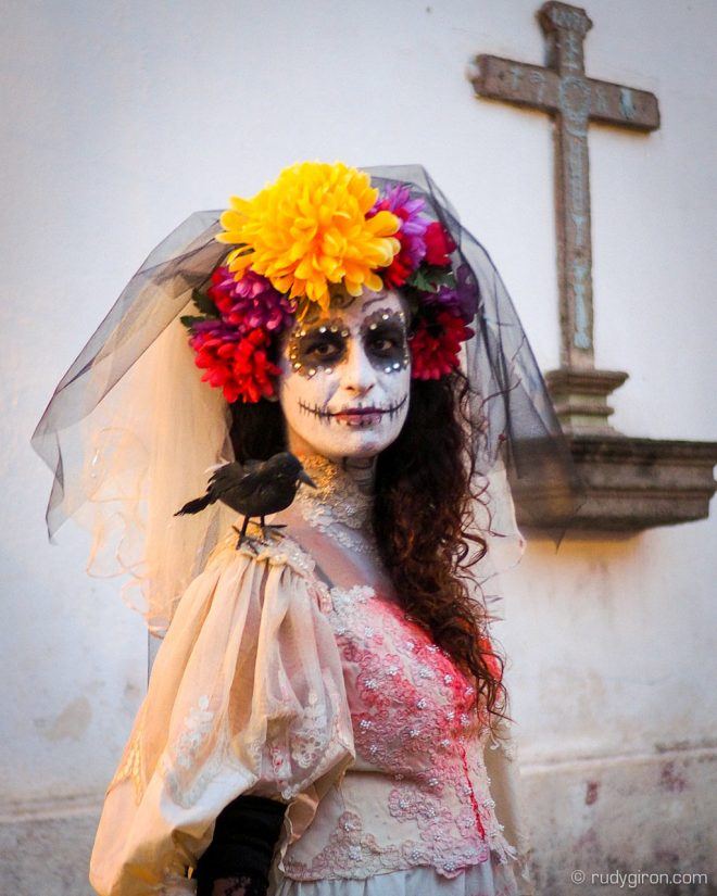Portrait of La Llorona at Calle del Arco, Antigua Guatemala by Rudy Giron