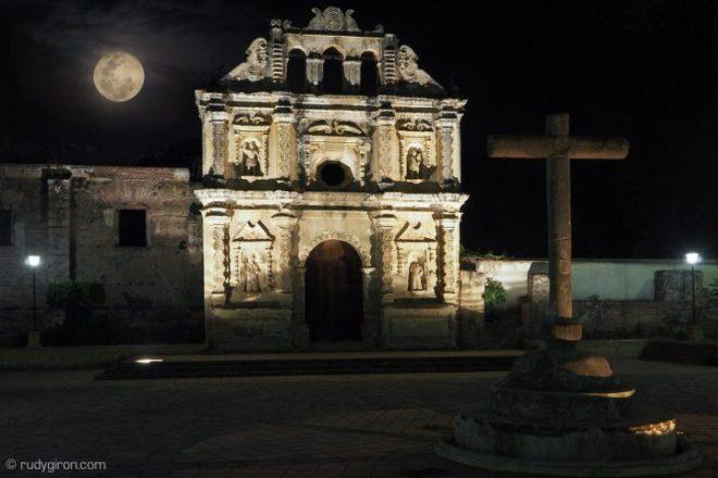 Full Moon Rising over Ermita Santa Isabel Ruins BY RUDY GIRON