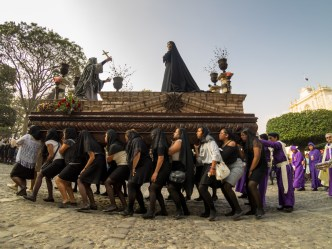 Santa Ana's Women Processional Float at Parque Central in Antigua Guatemala BY RUDY GIRON