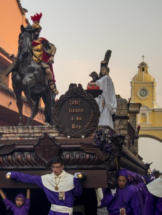 Santa Ana's Men Processional Float at Calle del Arco in Antigua Guatemala BY RUDY GIRON