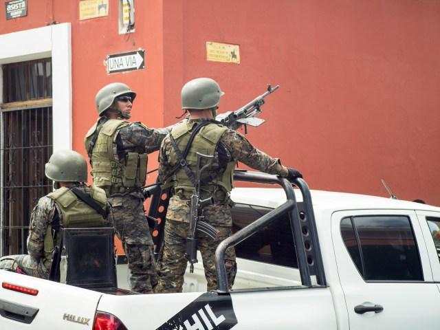 Guatemalan Army Patrol in Antigua Guatemala BY RUDY GIRON