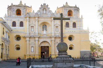 Façade of La Merced Church in Antigua Guatemala BY RUDY GIRON
