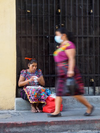 Mayan Ambulant Vendor Selling Masks in La Antigua Guatemala BY RUDY GIRON
