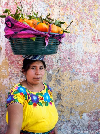 Mayan Portrait of an Ambulant Tangerine Vendor in Antigua Guatemala