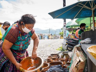 PHOTO STOCK: Mayan woman set ups shop to sell her pottery