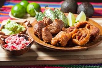 PHOTO STOCK: Chicharrones and Carnitas with Guacamole and Radish Salad