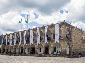 Sights of Our Times: Santiago Banners at Antigua's City Hall