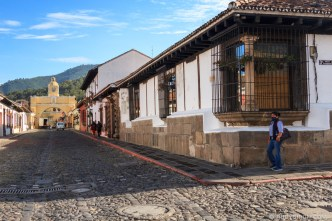 PHOTO STOCK: Gorgeous Morning Light at Calle del Arco in Antigua Guatemala