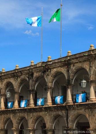 Guatemala's Independence Flags at Palacio del Ayuntamiento