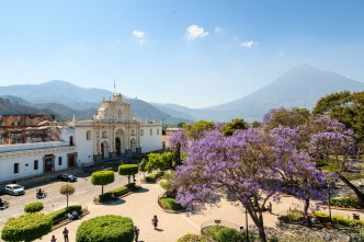 PHOTO STOCK: Panoramic Vista of the Parque Central of Antigua Guatemala