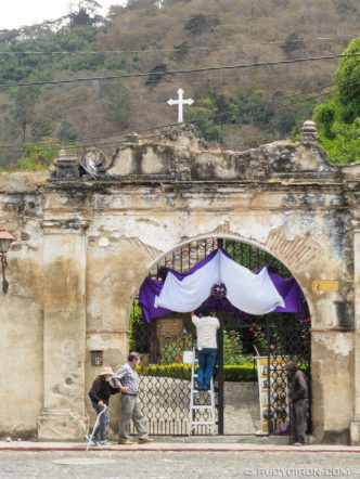 PHOTO STOCK: Holy Week Temple Decorations in Antigua Guatemala