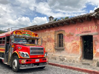 Sights of Antigua — Chicken Bus and Wall Texture by RUDY GIRON