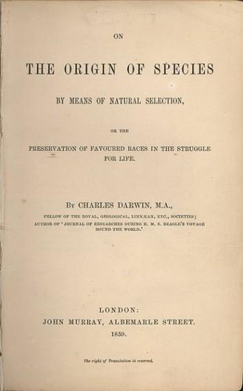 Το εξώφυλλο της πρώτης έκδοσης της «Καταγωγής των Ειδών», 1859