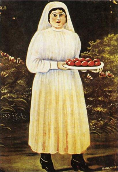 γυναίκα με πασχαλιάτικα αβγά Niko Pirosmani