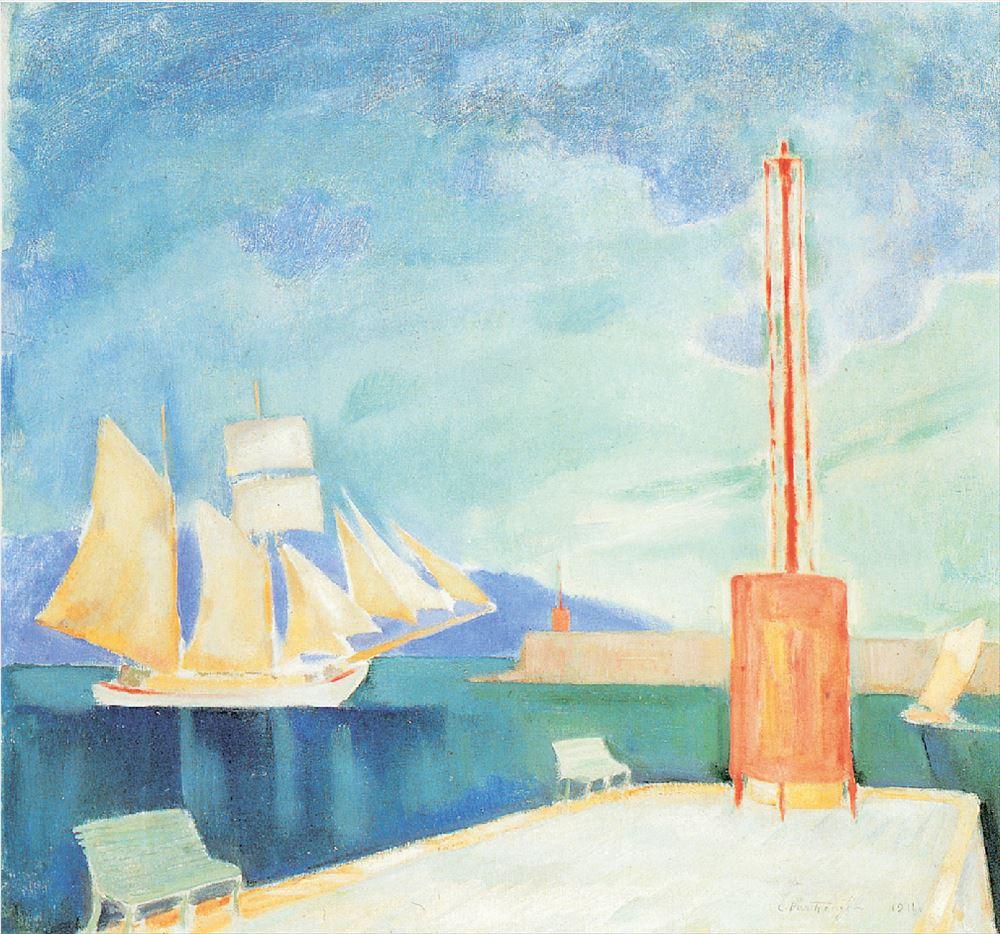 ΚΩΝΣΤΑΝΤΙΝΟΣ ΠΑΡΘΕΝΗΣ, «Το λιμάνι της Καλαμάτας»,1911,Εθνική Πινακοθήκη Ζωγράφος που επηρεάστηκε και από τον συμβολισμό και από τον μεταϊμπρεσιονισμό και ένας από τους σπουδαιότερους καλλιτέχνες της νεοελληνικής ζωγραφικής,ο Κωνσταντίνος Παρθένης επιδεικνύει εδώ τον απόλυτα ιδιαίτερο χειρισμό του χρώματος που τον διακρίνει,σε ένα από τα διασημότερα έργα του.