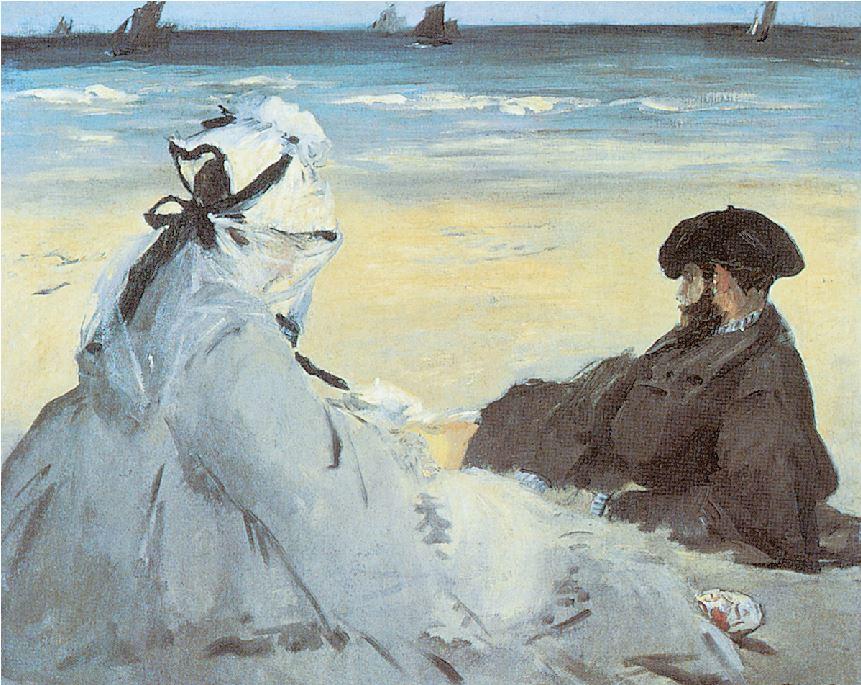 ΕΝΤΟΥΑΡ ΜΑΝΕ, «Στην παραλία»,1873,Μουσείο Ορσέ,Παρίσι Ενας από τους πρώτους ζωγράφους που εδραίωσαν νέες προσεγγίσεις στη μοντέρνα τέχνη,ο Εντουάρ Μανέ ξεδιπλώνει εδώ τη δεξιοτεχνία του στην τοπιογραφία.