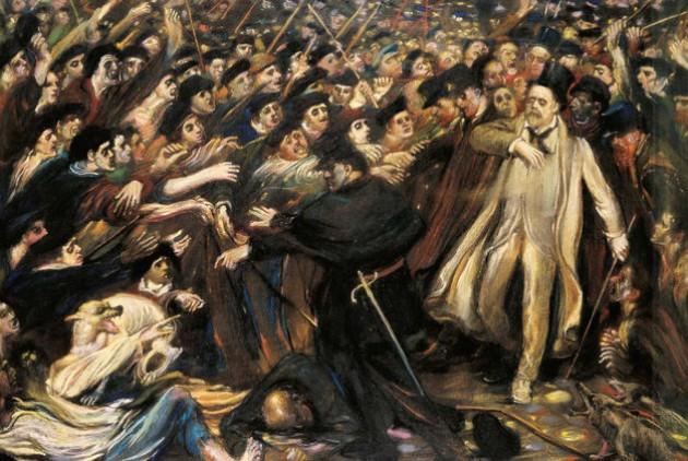 Henry de Groux «Ο Ζολά αντιμέτωπος με τον όχλο» (1898) |
