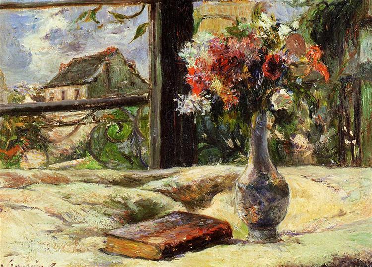 Βάζο με λουλούδια στο παράθυρο. Paul Gauguin 1881