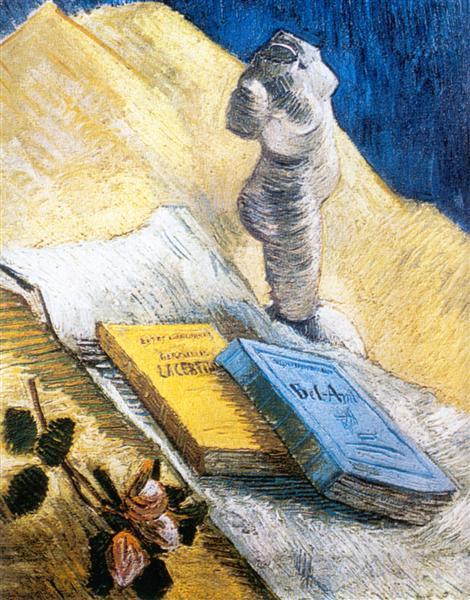 Νεκρή φύση με γύψινο αγαλματίδιο, ένα τριαντάφυλλο και δύο μυθιστορήματα Vincent van Gogh 1887