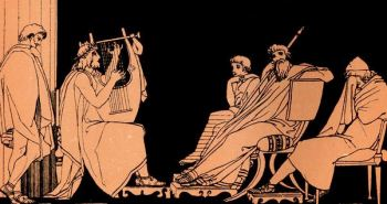 Illustration of Odysseus Weeping at Song of Demodocus