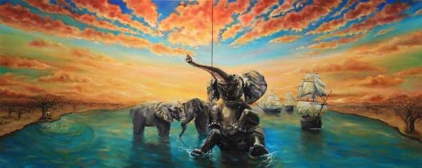 obraz-sloni-si-hrali-buddha-meditoval-a-v-tom-pripluly-lode-acfae