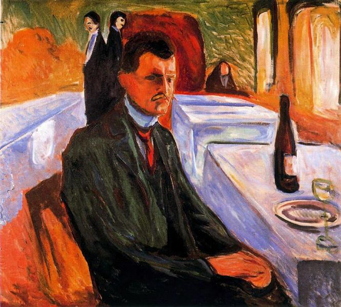 Αυτοπροσωπογραφία μ ένα μπουκάλι κρασί - Edvard Munch 1906