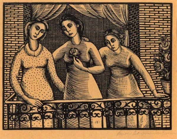 Βάσω Κατράκη (1914-1988) Κορίτσια στο μπαλκόνι, 1942. Ξυλογραφία