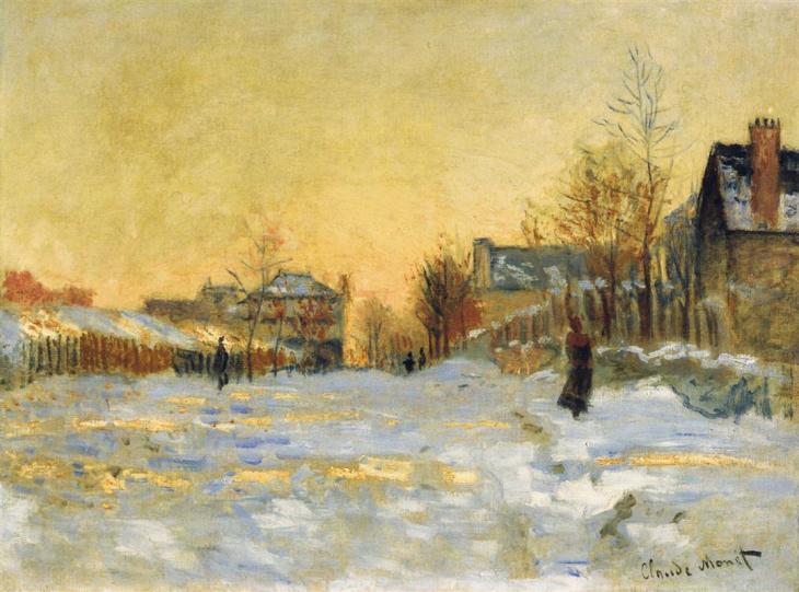 η επίδραση του χιονιού στο δρόμο για το Argentuil- Claude Monet 1875
