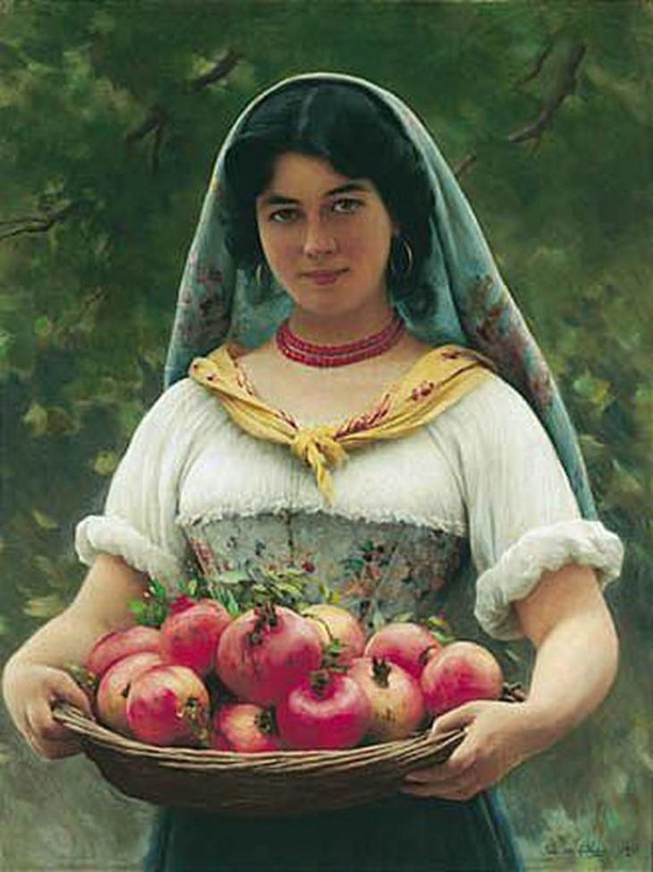 Κορίτσι με Ρόδια - Ευγένιος Μπλάας - 1912