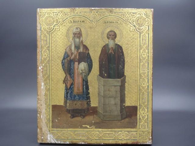 Икона Св.Митрополит Московский и Св. Семион Столпник 19-век
