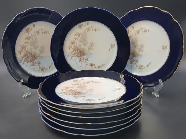 Набор из 6 тарелок с синей маркой М.С. Кузнецова до 1917 года