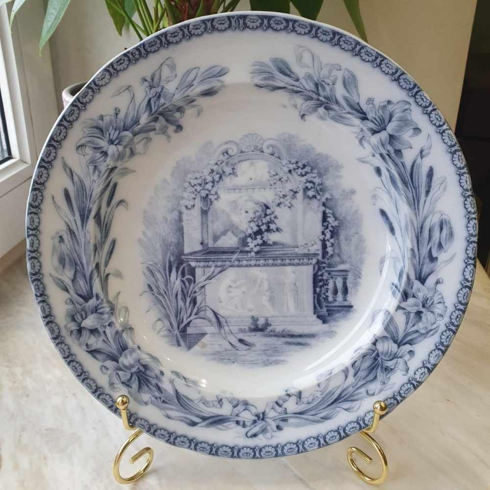 Редкая антикварная тарелка с англо-русской маркировкой по заказу Александра Давыдова