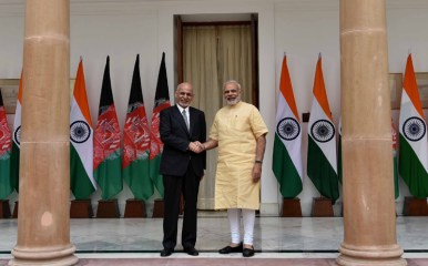 The Prime Minister, Shri Narendra Modi and the President of Afghanistan, Dr. Mohammad Ashraf Ghani, Hyderabad House, in New Delhi on September 14, 2016.