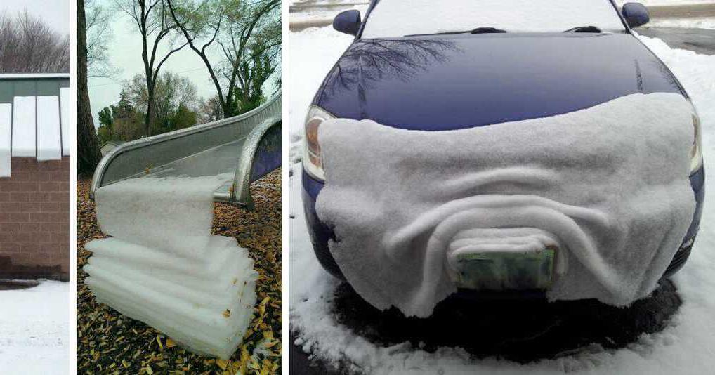На этих фотографиях снег ведет себя довольно странно