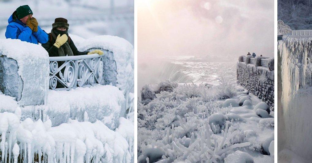 Ниагарский водопад замерз из-за рекордных морозов и теперь напоминает Нарнию