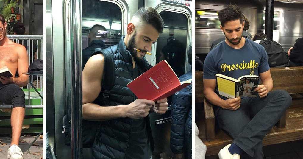 Девушка фотографирует красивых парней, которые просто читают книги