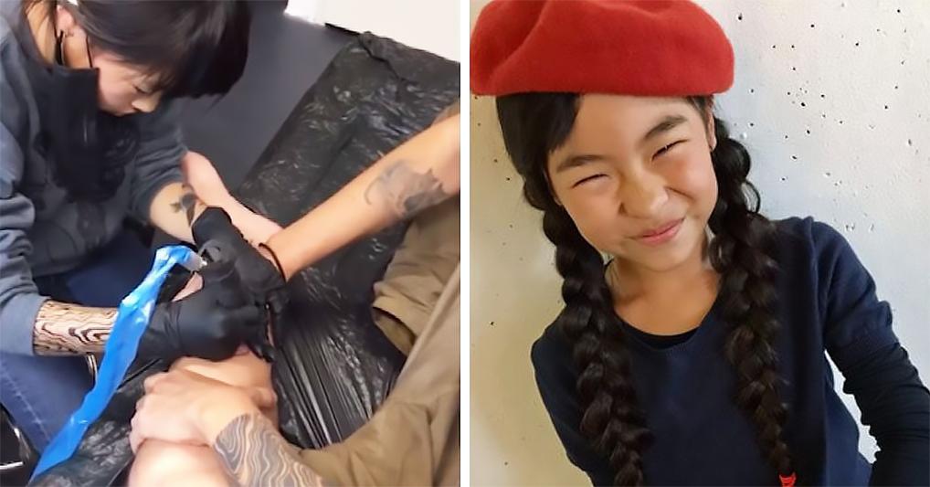 Маленькая японка с 6 лет делает татуировки и у нее есть постоянные клиенты