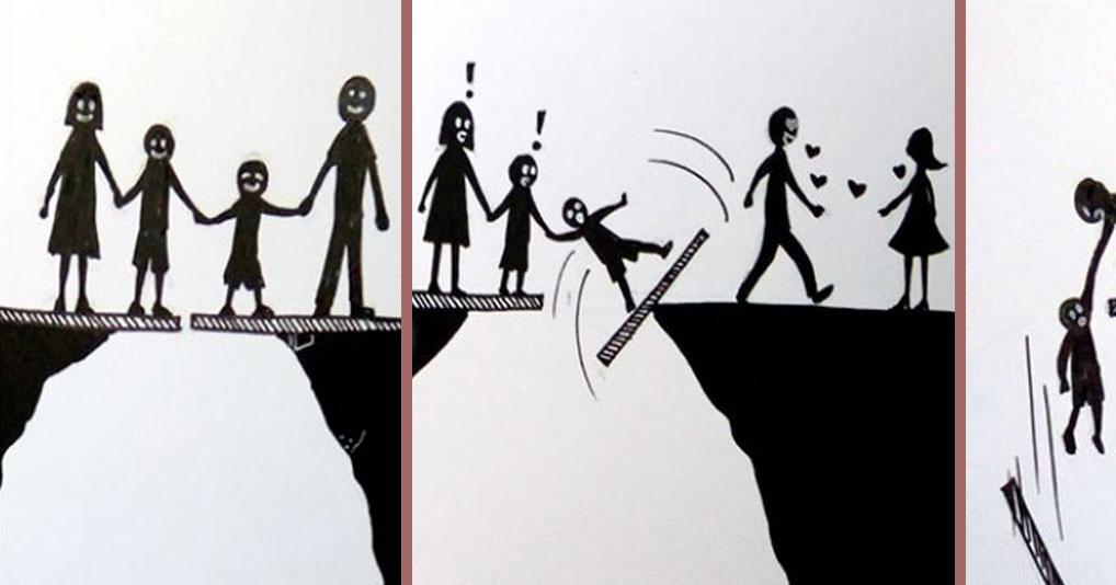 Cерия грустных иллюстраций про то, как выглядит развод глазами детей