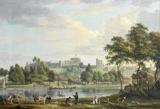 Windsor Castle from the Thames with figures in the foreground