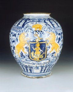 A highly decorative Delft drug jar