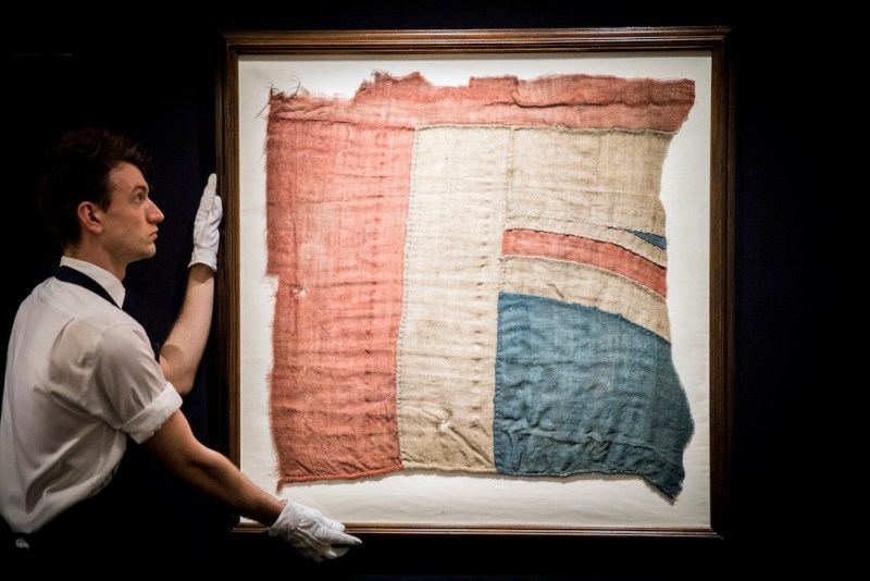 An exceptionally large fragment of the Union Jack believed to have flown from Nelson's ship HMS Victory at the battle of Trafalgar