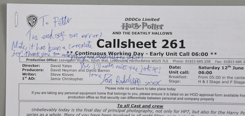 A call-sheet signed by Daniel Radcliffe, for the final day of principal photography for the Harry Potter film series